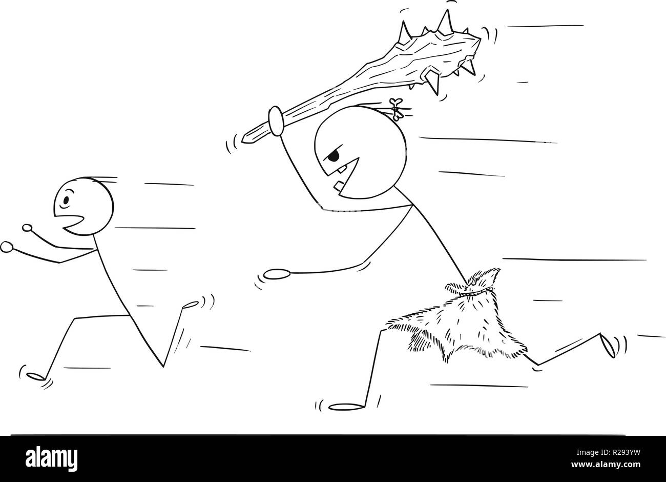 Cartoon of Scared Man Running Away From Caveman or Giant Stock Vector