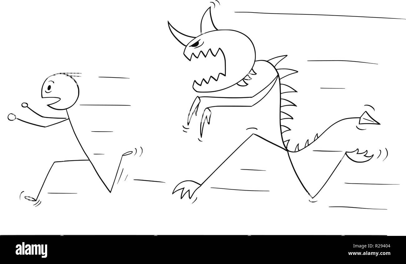 Cartoon of Scared Man Running Away From Monster Creature Stock Vector