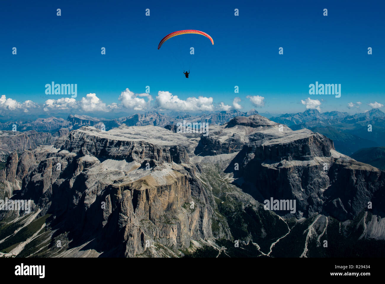 Paragliding, Dolomites, Sella Group, Sass Pordoi, Piz Boe, Fassa Valley, aerial photo, Trentino region, Canazei, Campitello Stock Photo