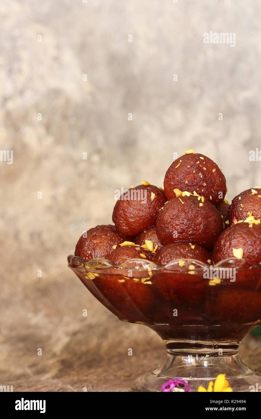 Homemade Gulab Jamuns / Diwali Sweets, selective focus - Stock Image
