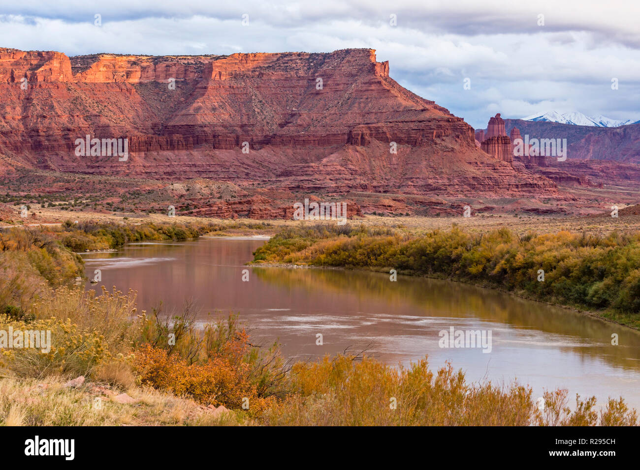The Fisher Towers along a bend in the Colorado River in the Professor Valley, Utah. - Stock Image