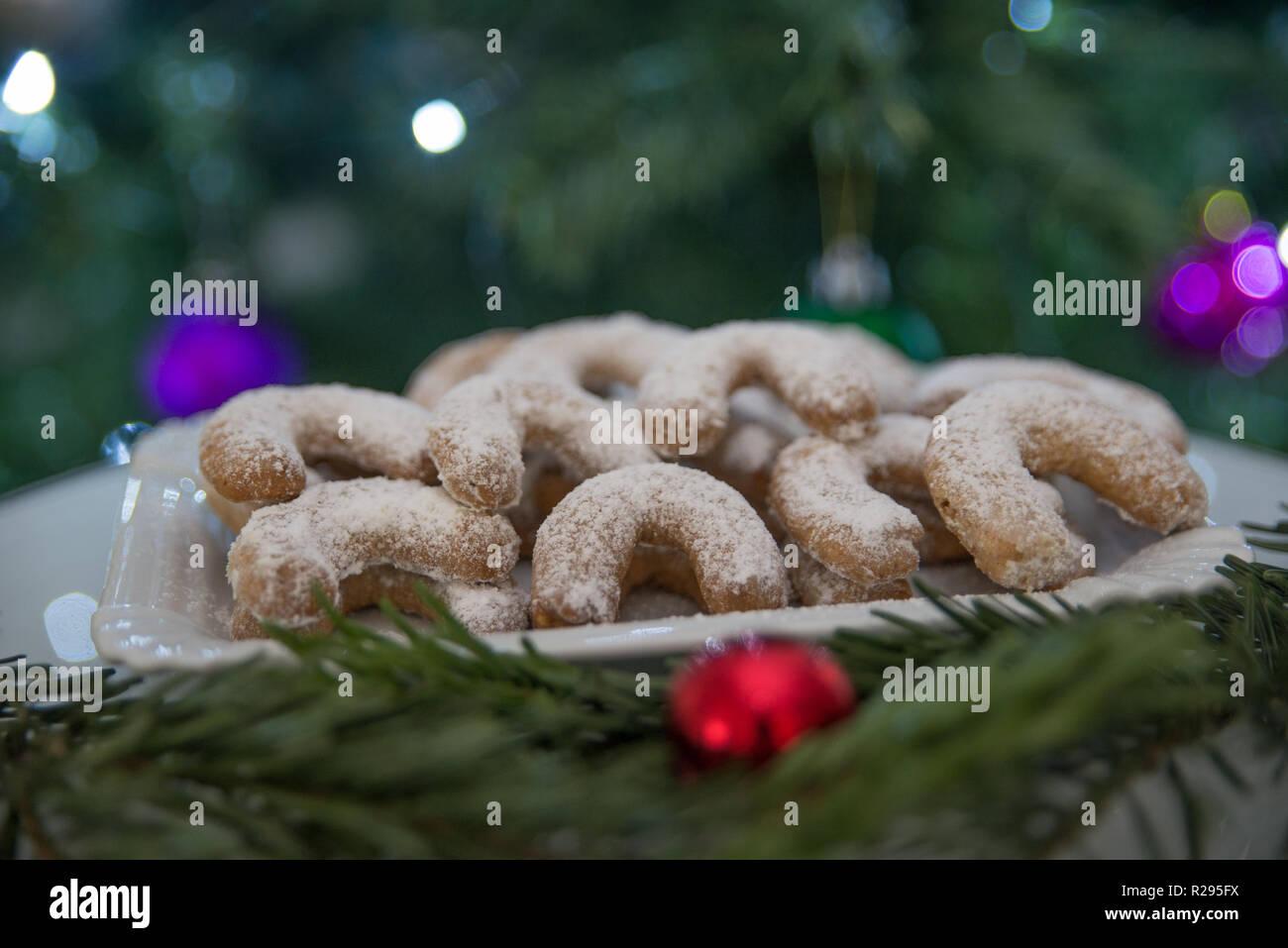 Christmas Vanilla Nut Crescent Cookies Stock Photo 225166030 Alamy