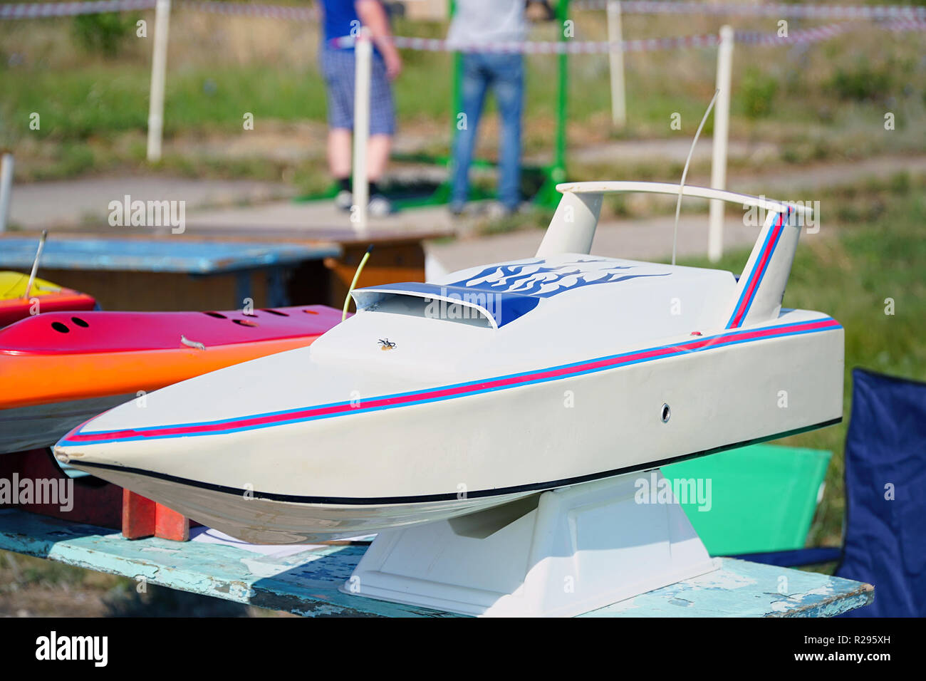 Modern toy model of radio-controlled boat - Stock Image