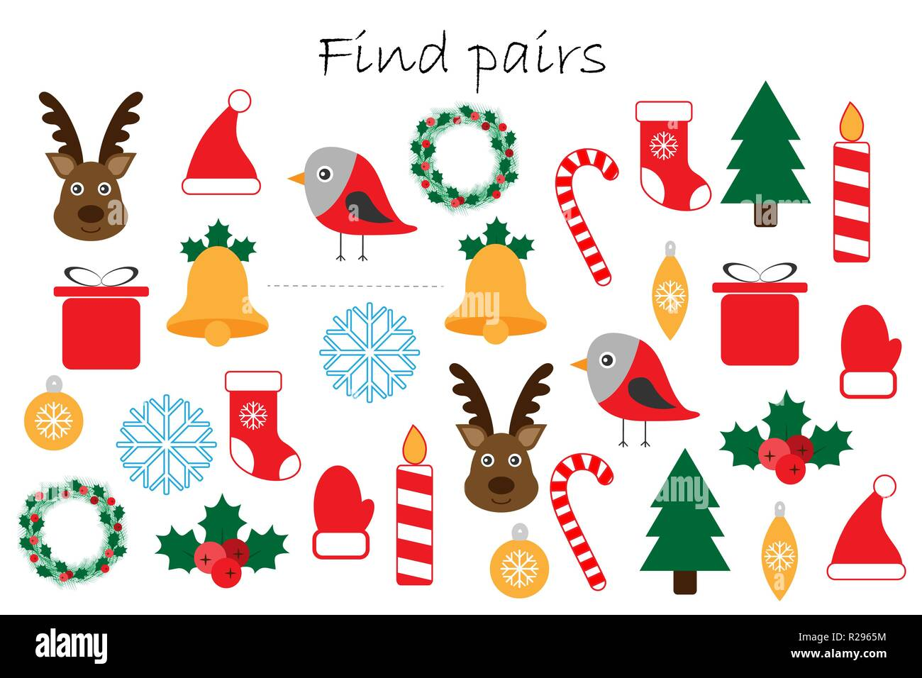 Christmas Preschool.Find Pairs Of Identical Pictures Fun Education Game With