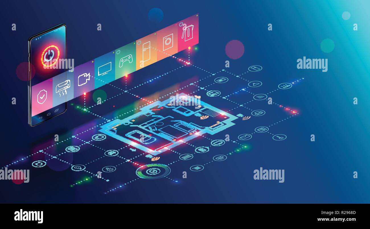 IOT isometric concept. mobile app of smart home controls Internet of things via phone. House automation system technology - Stock Image