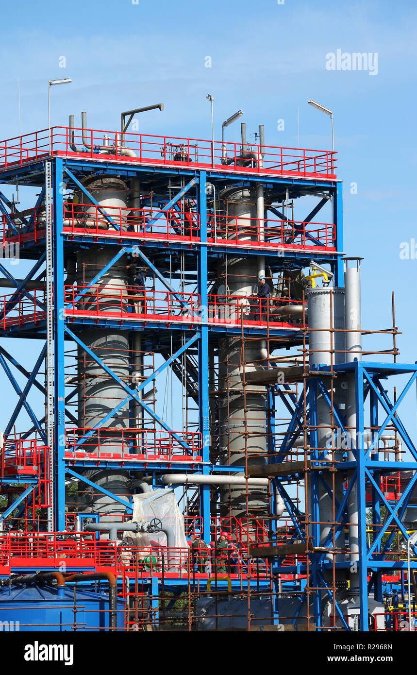 refinery petrochemical plant construction site industry Stock Photo
