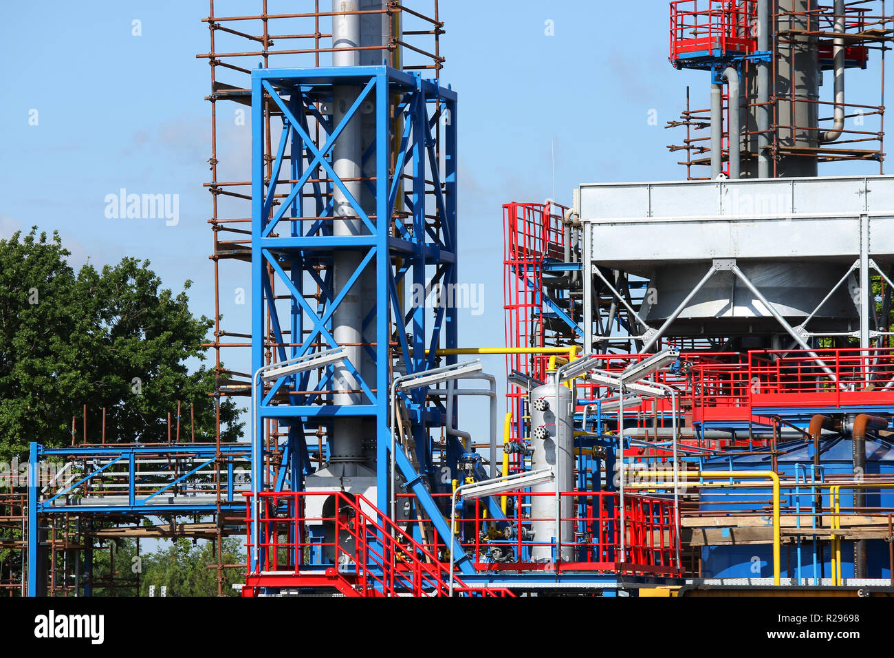 refinery petrochemical plant construction site Stock Photo