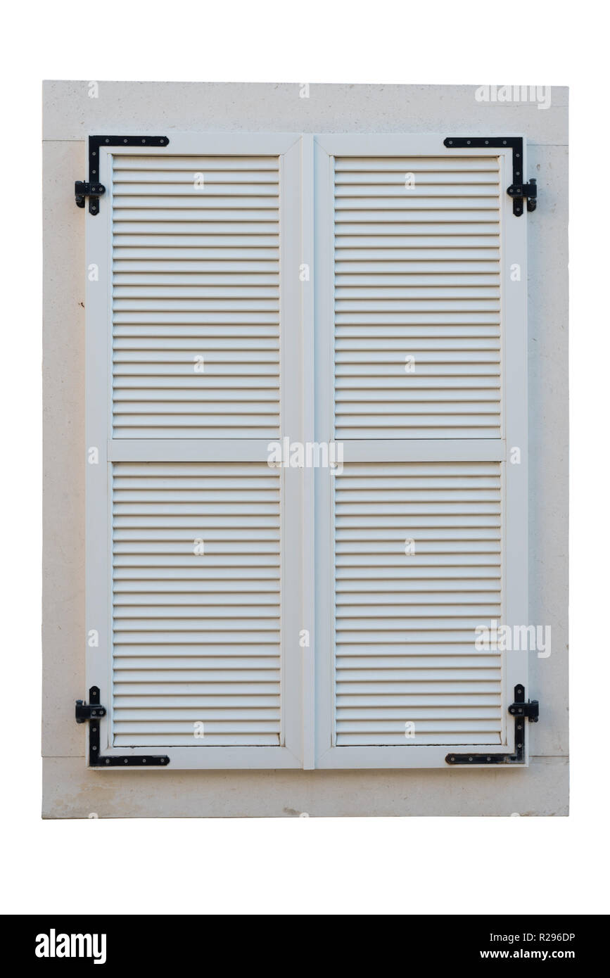 Wooden Window Closed With White Wooden Shutters Isolated On