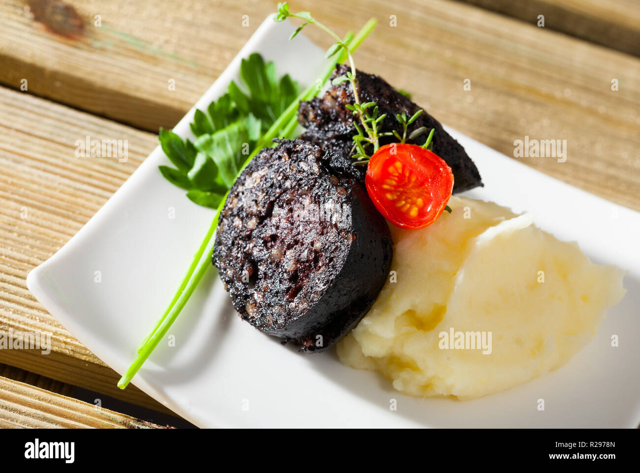 Fried morcilla (blood sausage with rice) served on white plate with pureed potatoes, tomatoes and aromatic herbs - Stock Image