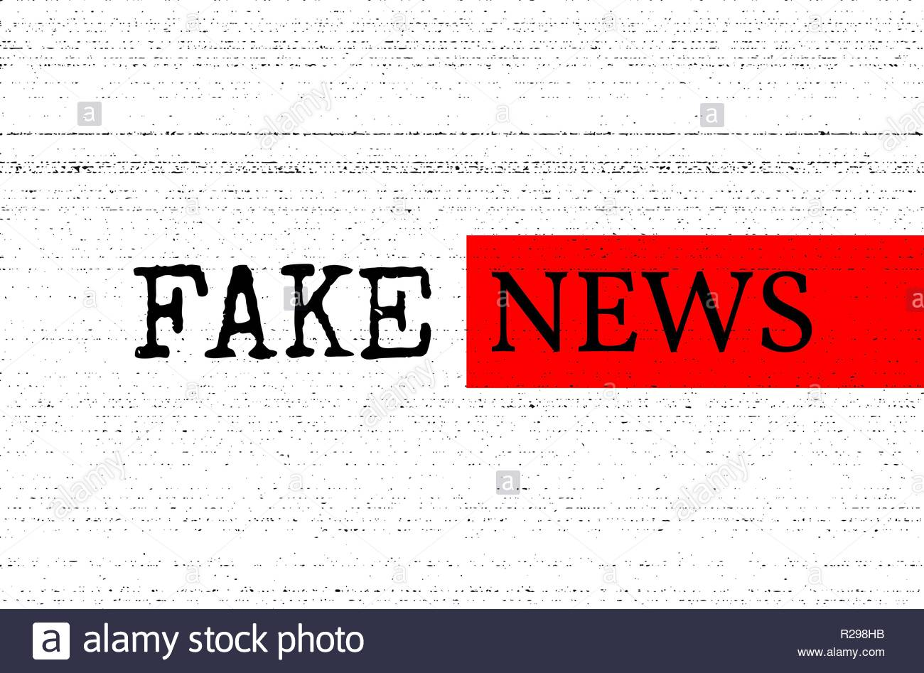Fake news concept. Red, black and white vector illustration with grunge photocopy texture. Can be used as a banner or background in social media. Stock Vector