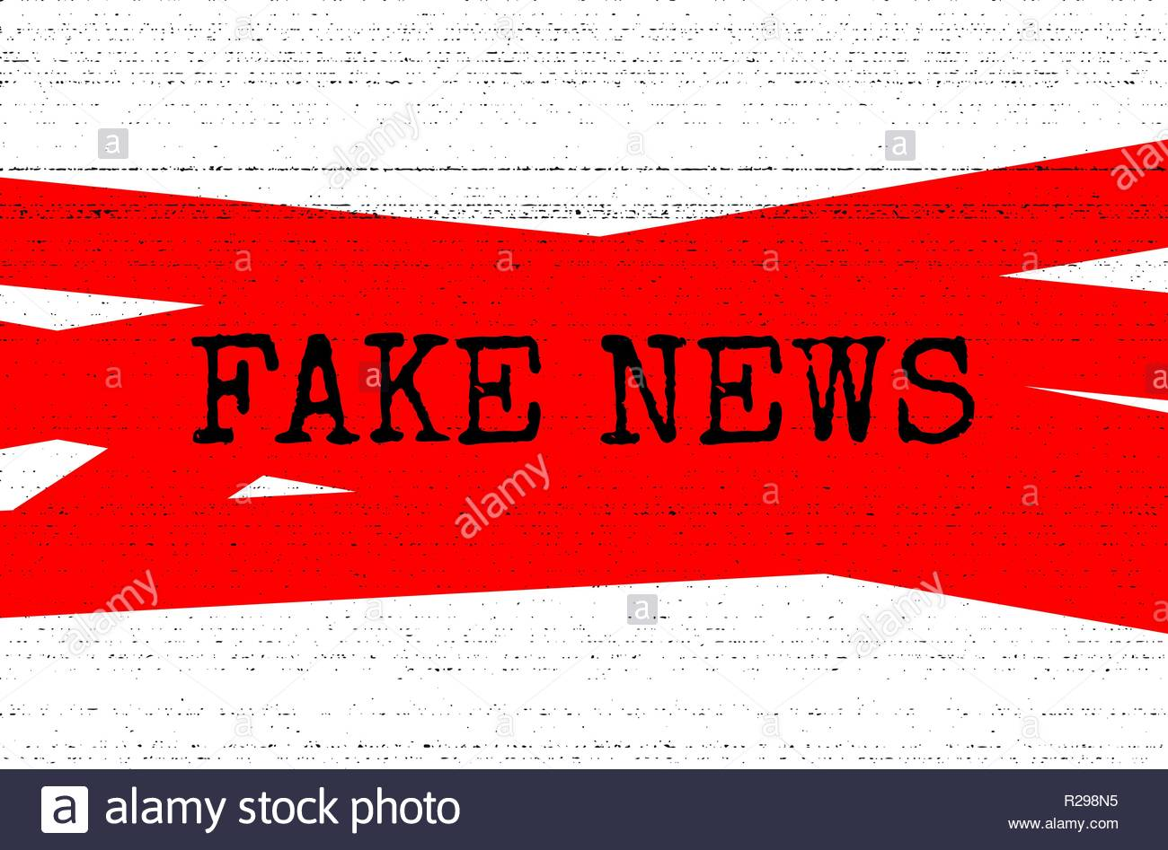 Fake news concept. Red, black and white vector illustration with grunge photocopy texture. Can be used as a banner or background in social media. - Stock Image