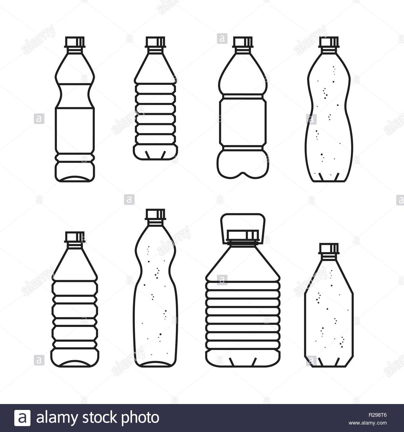 Pure drinking water Line vector illustration of set of plastic