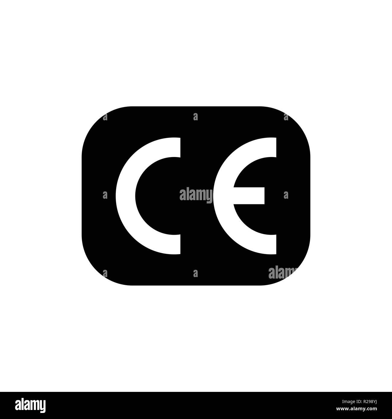 CE mark symbol. European Conformity certification mark. Vector illustration, - Stock Image