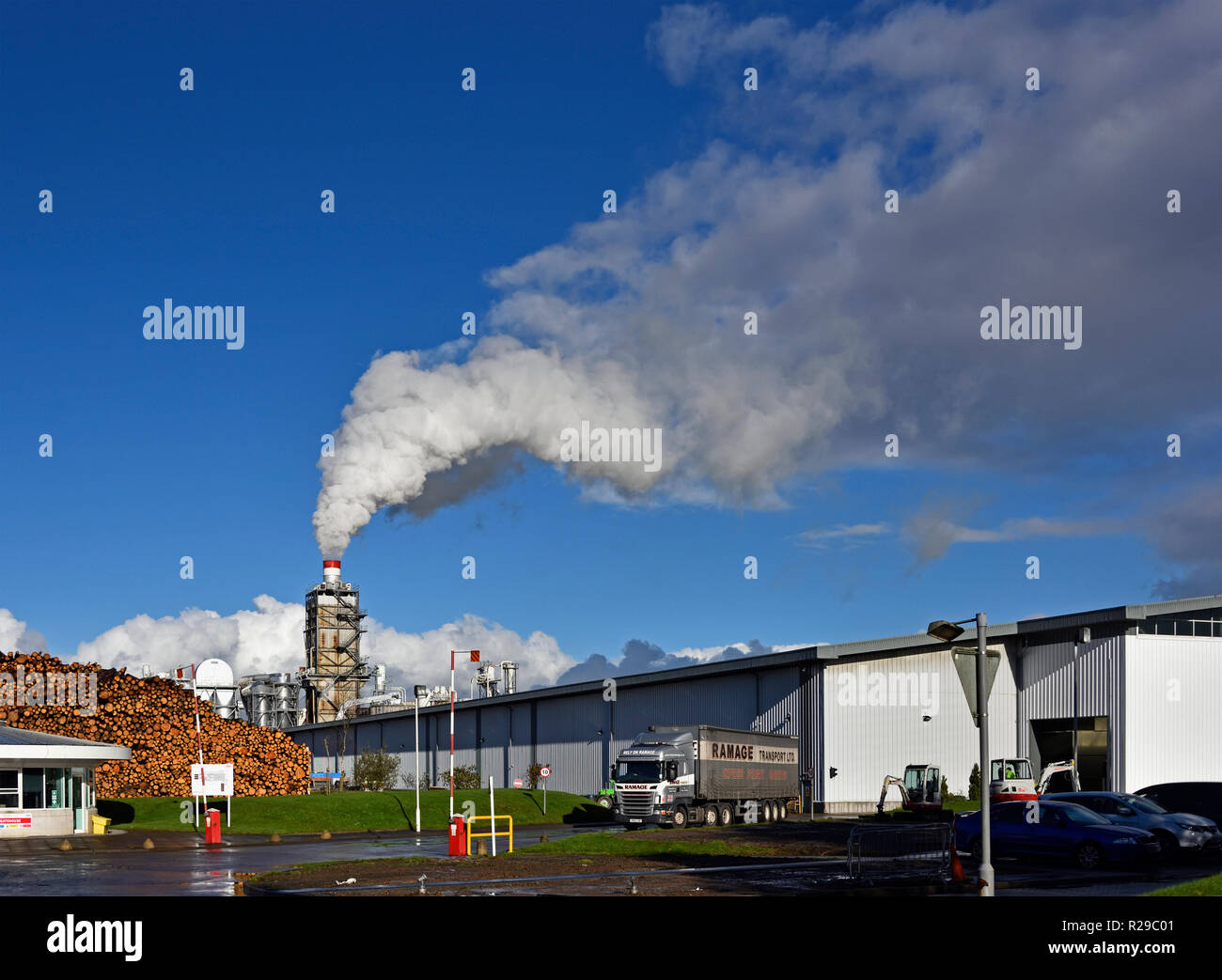 Ramage Transport Ltd. Heavy Goods Vehicle at Egger Barony industrial plant. Auchinleck, East Ayrshire, Scotland, United Kingdom, Europe. Stock Photo
