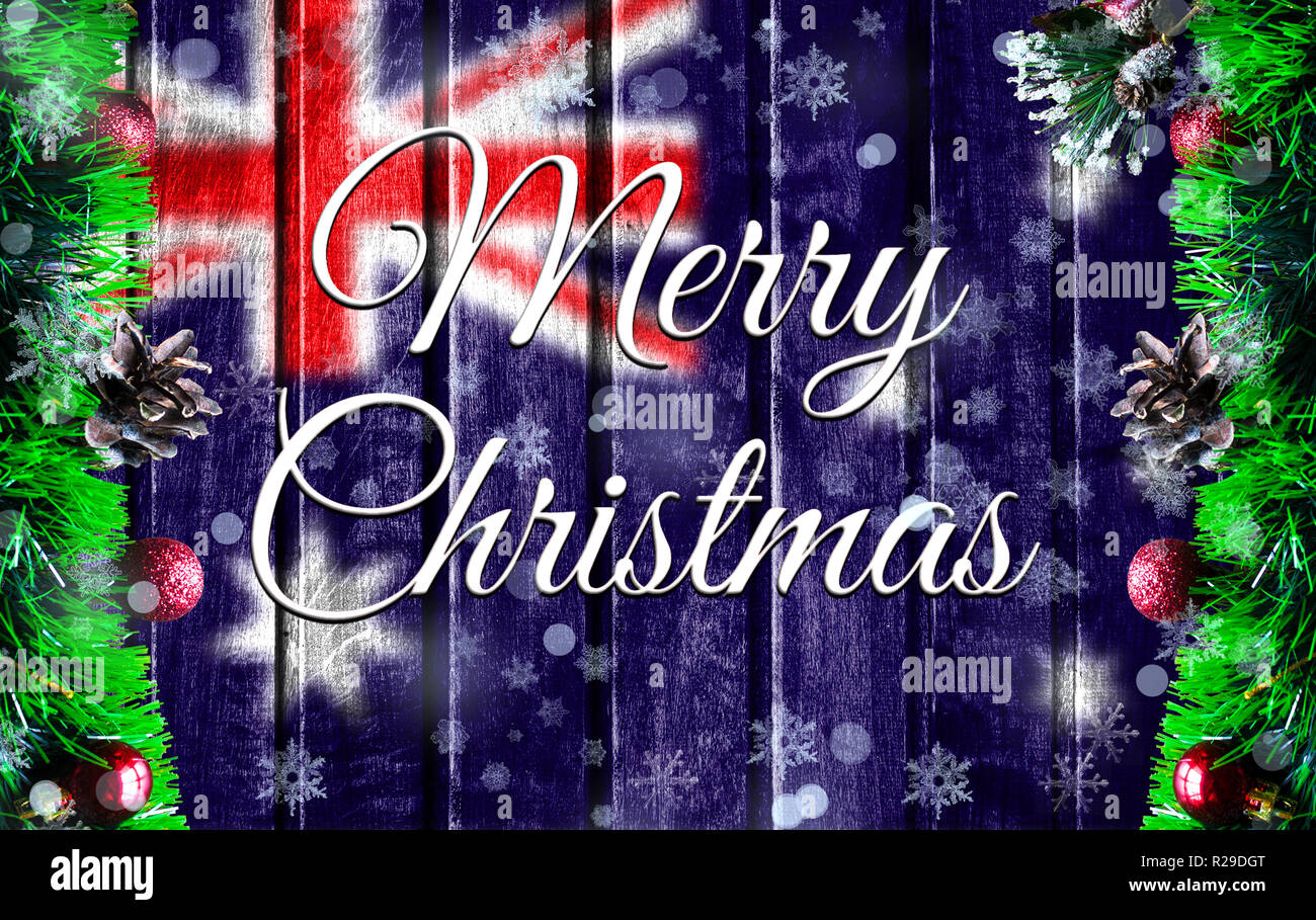 Christmas In Australia Background.Merry Christmas Holiday Concept With Blurred Flag Image Of