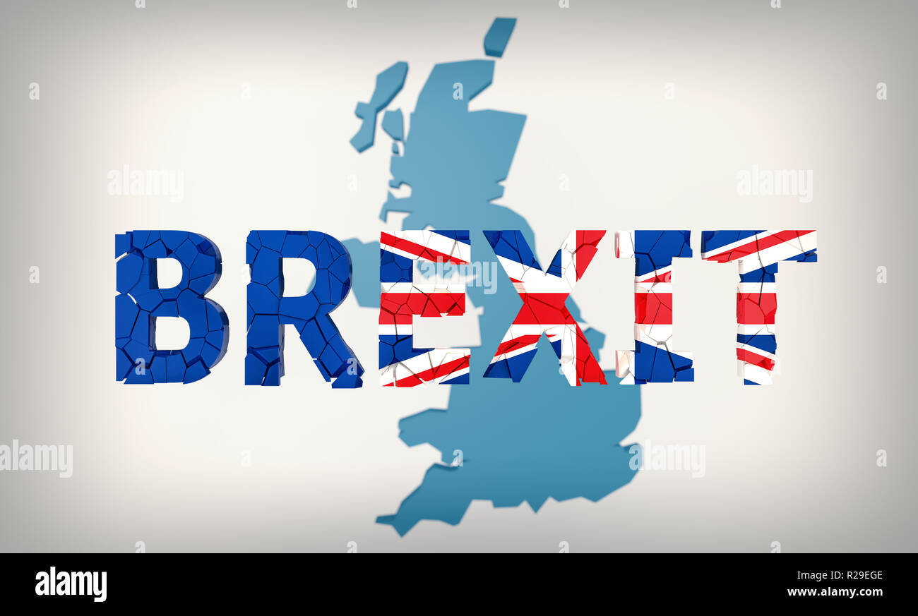 BREXIT - UK leaving the european union - 3D rendering - Stock Image