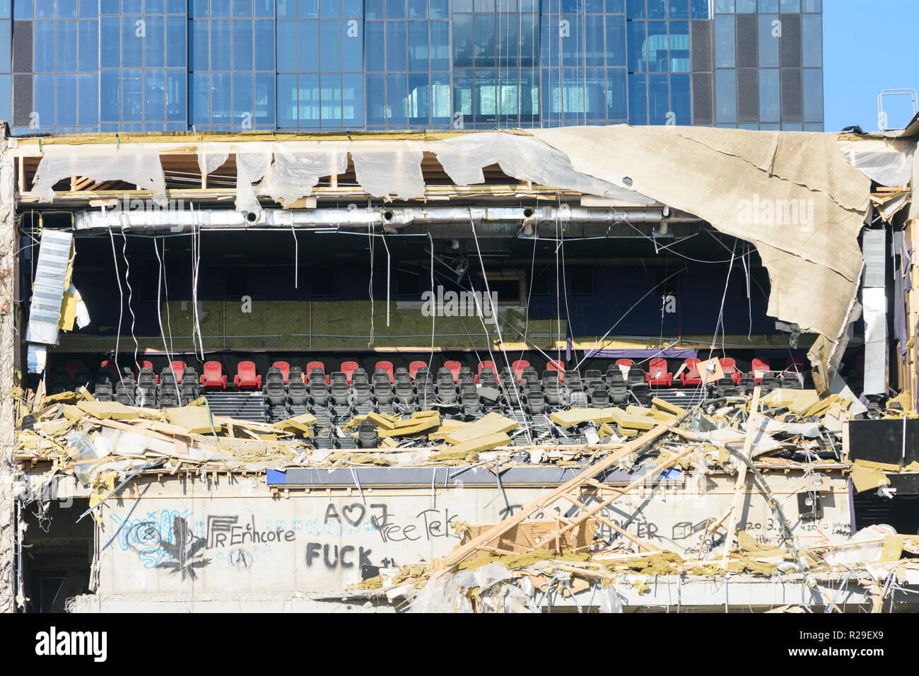 Wien, Vienna: no longer needed cinema in demolition in 22. Donaustadt, Wien, Austria - Stock Image