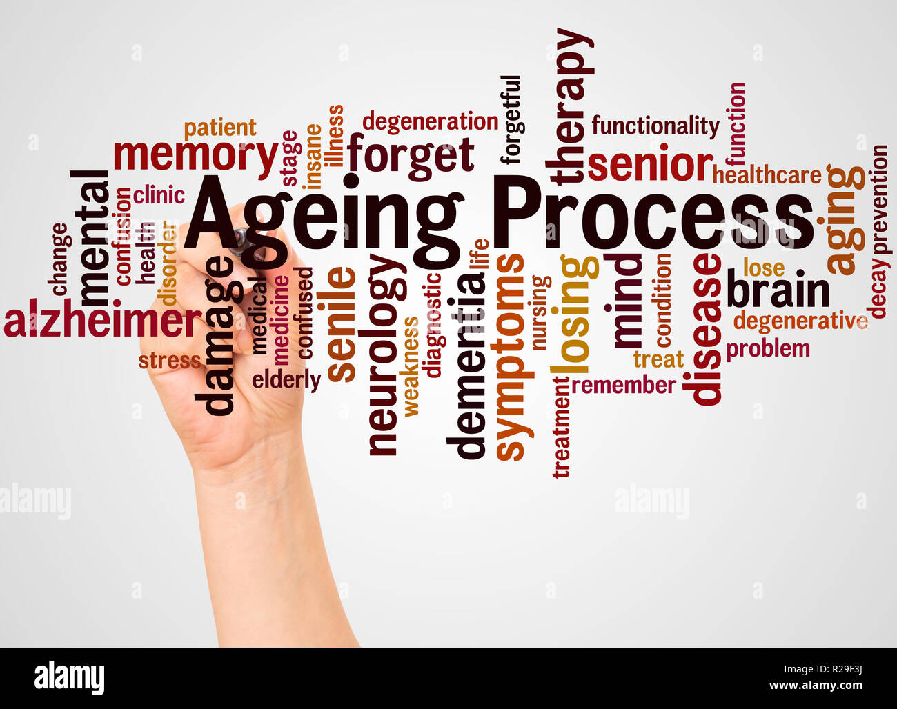 Ageing Process, word cloud and hand with marker concept on white background. - Stock Image