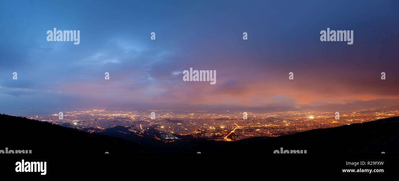 Athens, Greece, sunset panoramic view from Hymettus mountain. - Stock Image