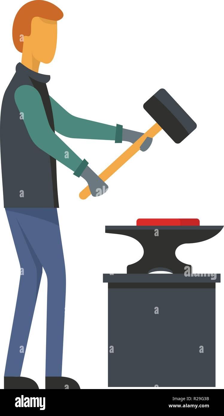 Man blacksmith icon. Flat illustration of man blacksmith vector icon for web - Stock Vector