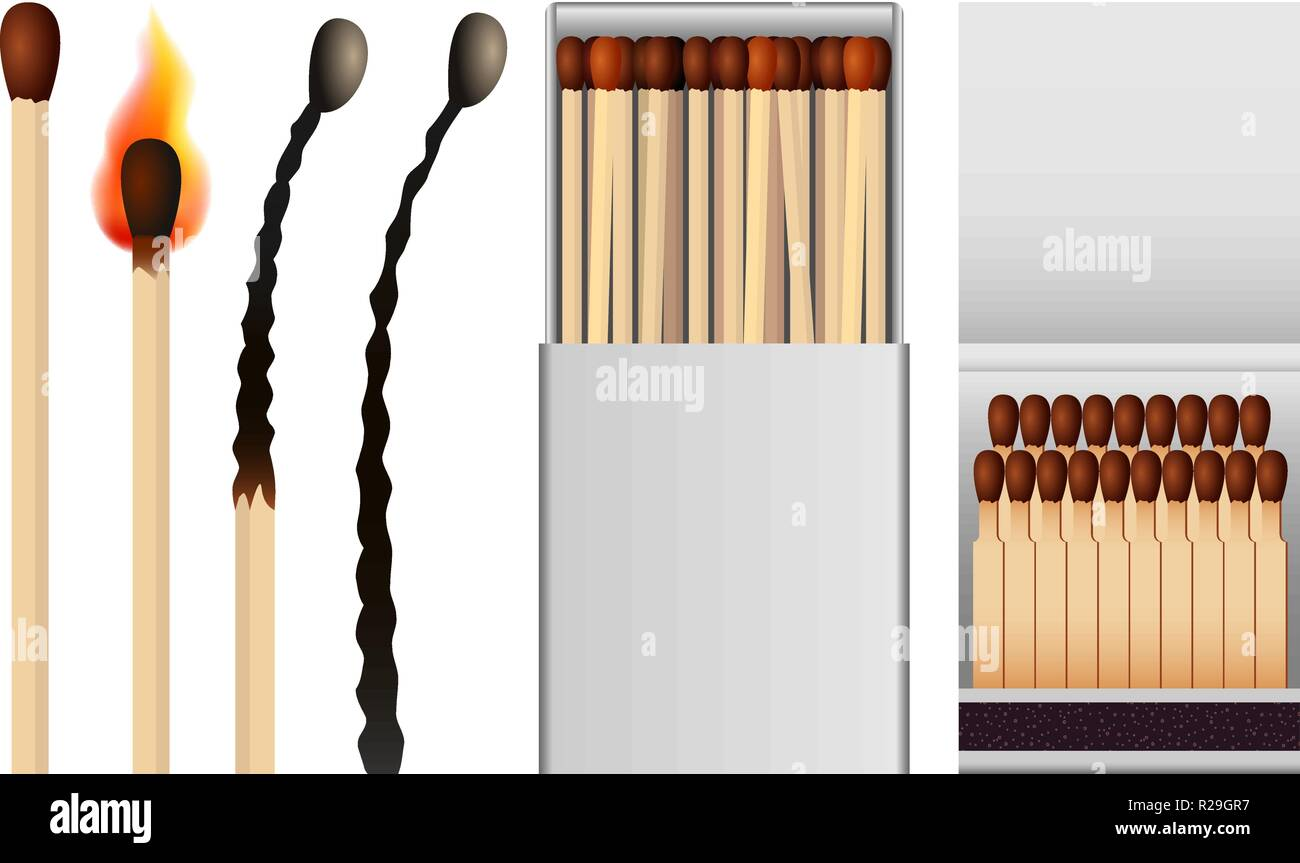 Safety match ignite burn mockup set. Realistic illustration of 4 safety match ignite burn mockups for web - Stock Image