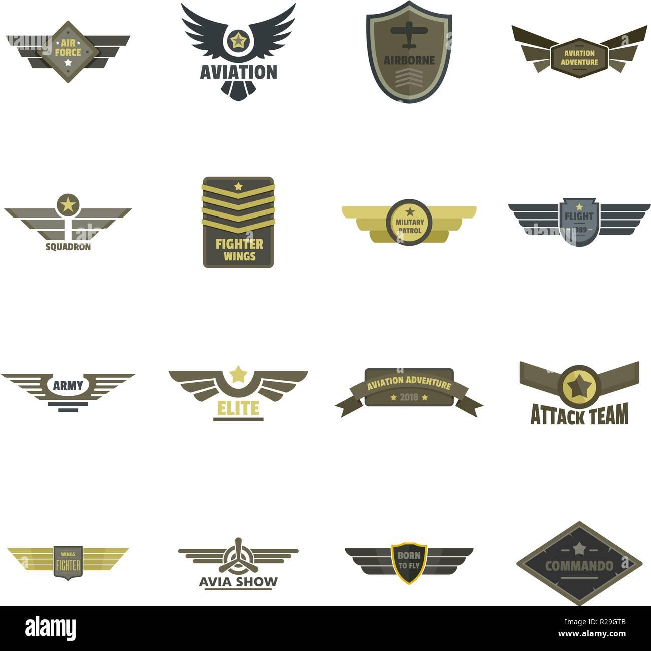 Airforce navy military logo icons set. Flat illustration of 16 airforce navy military logo vector icons for web - Stock Image