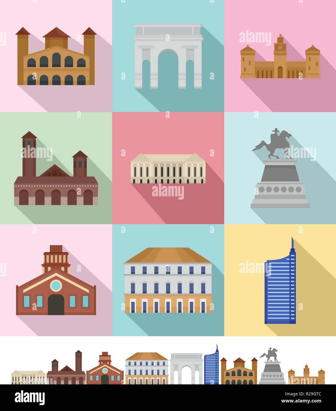 Milan Italy city skyline icons set. Flat illustration of 9 Milan Italy city skyline vector icons for web - Stock Vector