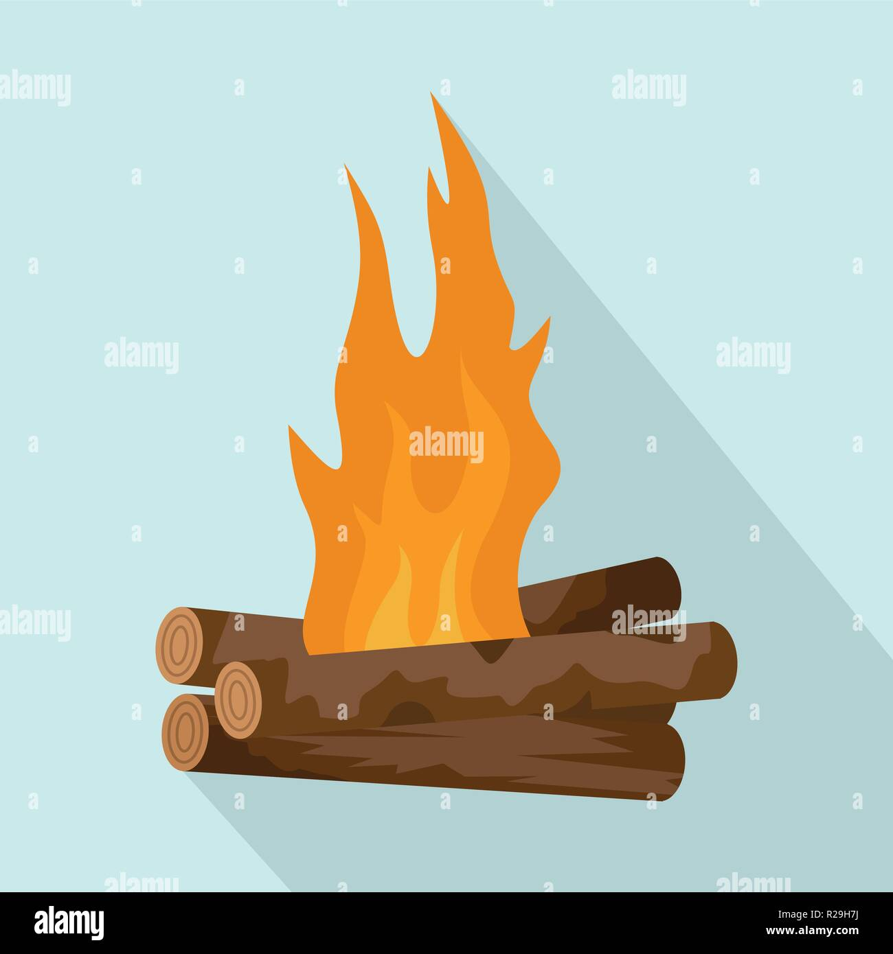 Log cabin fire icon. Flat illustration of log cabin fire vector icon for web design - Stock Vector