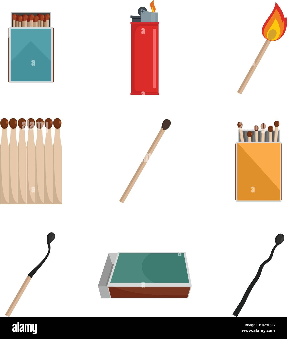 Safety match ignite burn icons set. Flat illustration of 9 safety match ignite burn vector icons isolated on white - Stock Image