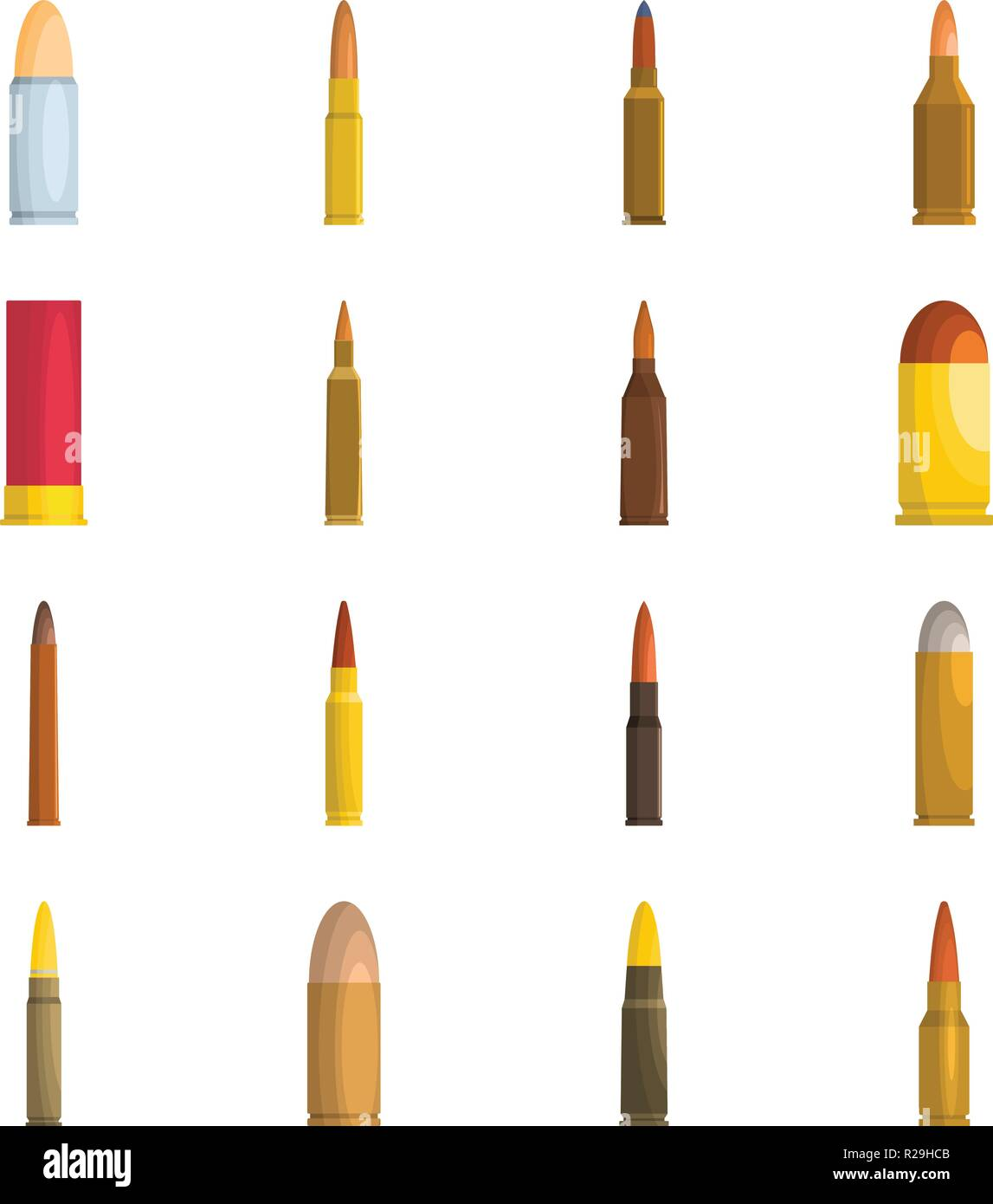 Bullet gun military icons set. Flat illustration of 16 bullet gun military vector icons isolated on white - Stock Vector