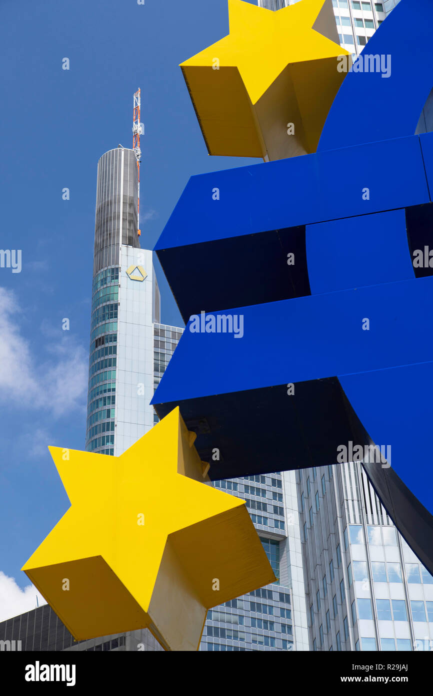 Euro sign and Commerzbank building in Willy Brandt Platz, Frankfurt, Hesse, Germany - Stock Image