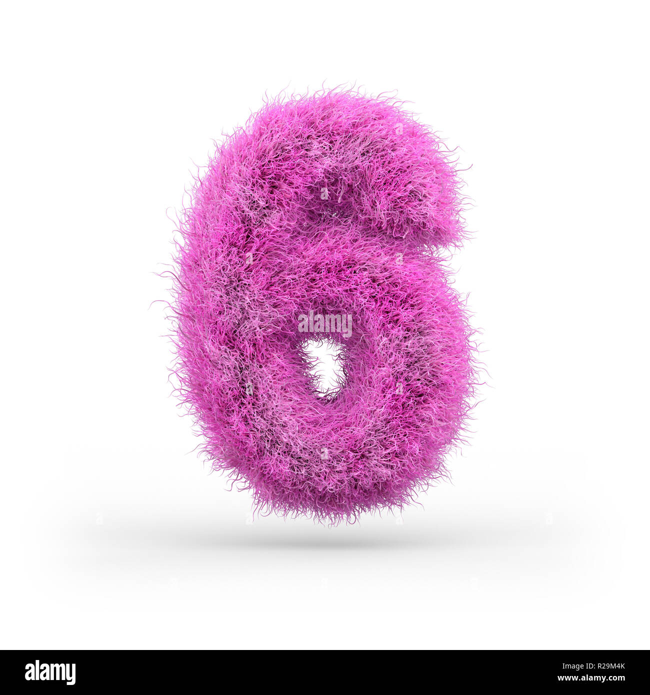 Uppercase fluffy and furry font made of fur texture for poster printing, branding, advertising. 3D rendering - Stock Image