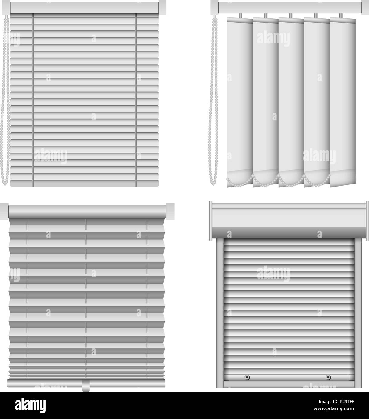 Blind window curtains mockup set. Realistic illustration of 4 blind window curtains mockups for web Stock Vector