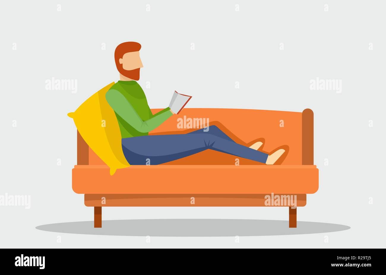 Man reading book at sofa banner horizontal. Flat illustration of vector man reading book at sofa banner horizontal for web design - Stock Vector