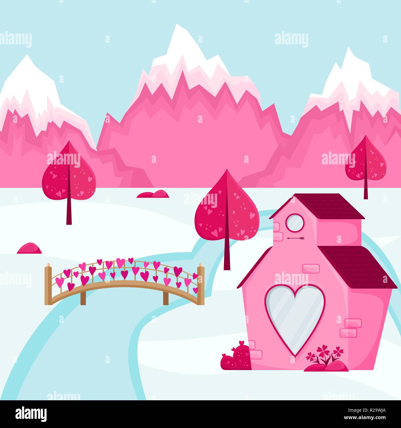 Valentine S Day Background Mountain Landscape Of The Village Of