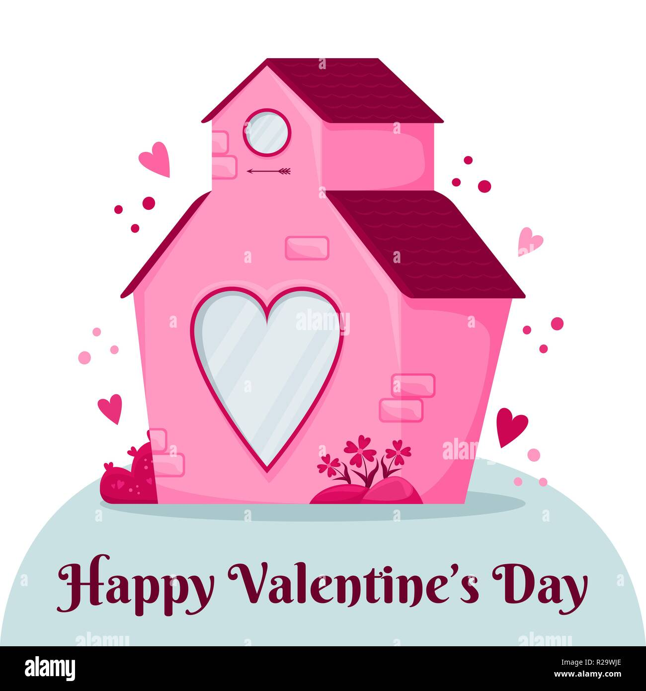Groovy Valentines Day Greeting Card Pink House With A Heart Home Remodeling Inspirations Genioncuboardxyz