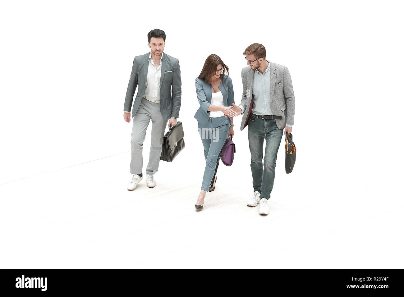 top view.three modern business people - Stock Image