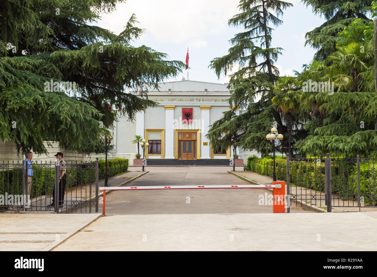 Tirana, Albania- 01 July 2014: Government building with albanian emblem.Tirana is the capital and most populous city of Albania. - Stock Image
