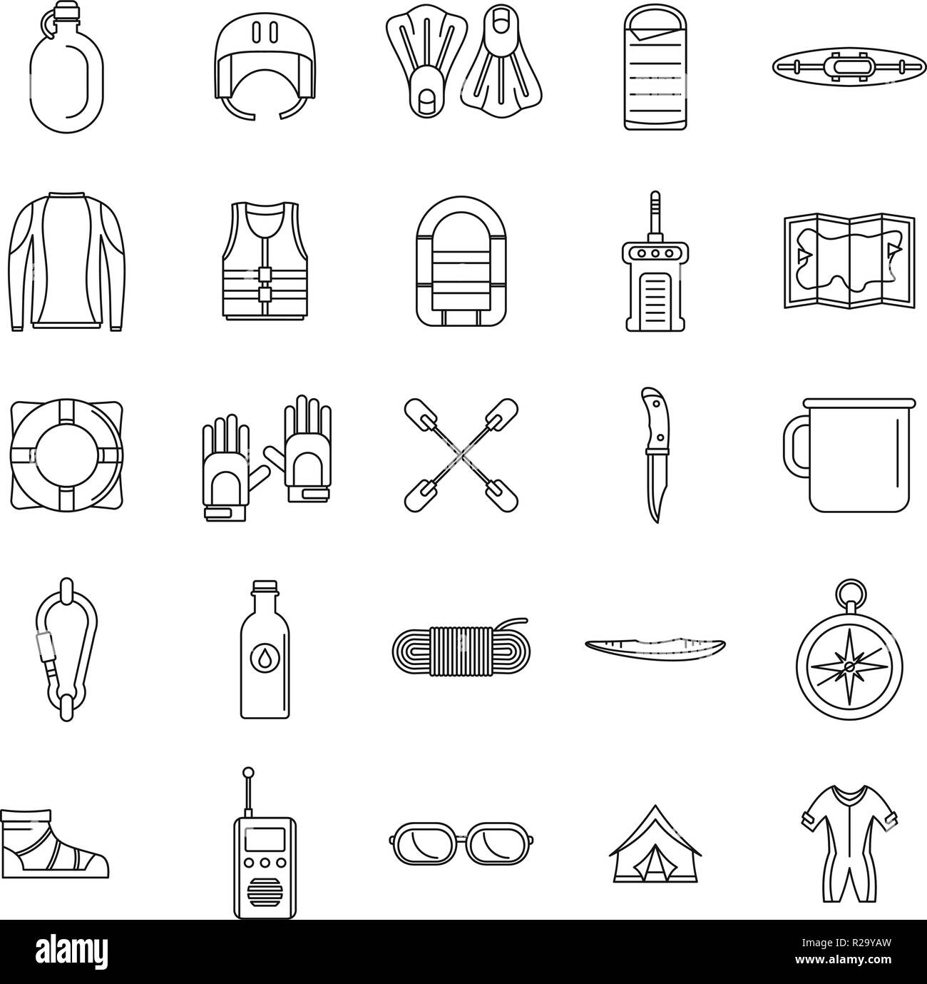 Rafting kayak water canoe icons set. Outline illustration of 25 rafting kayak water canoe vector icons for web - Stock Vector