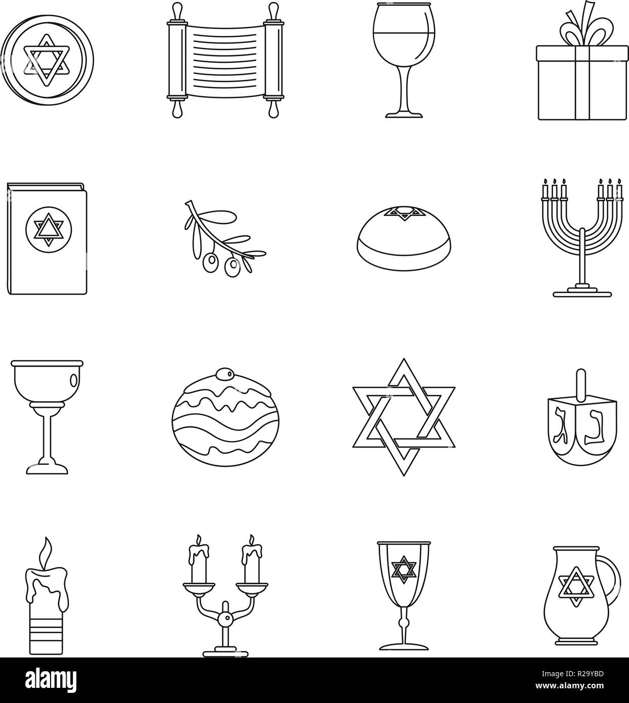 Chanukah jewish holiday icons set. Outline illustration of 16 chanukah jewish holiday vector icons for web - Stock Vector
