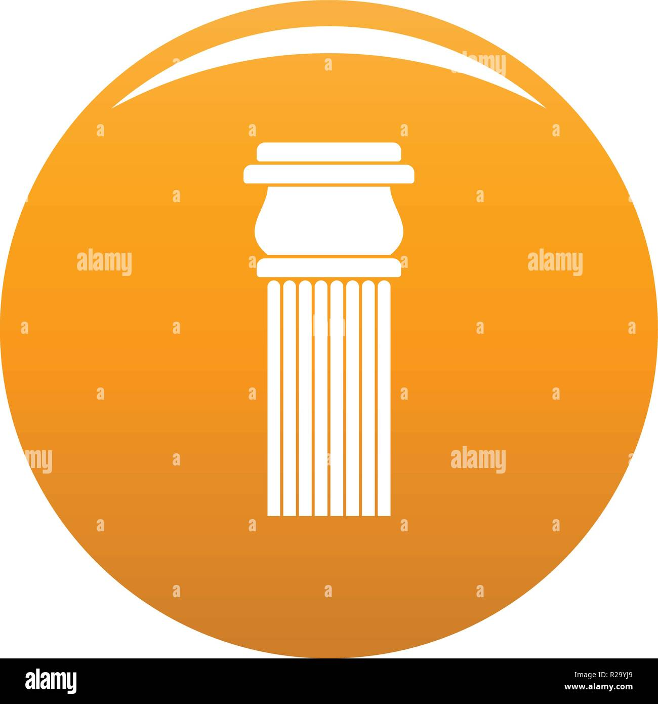 Stone column icon. Simple illustration of stone columnbaseball cap vector icon for any design orange - Stock Image