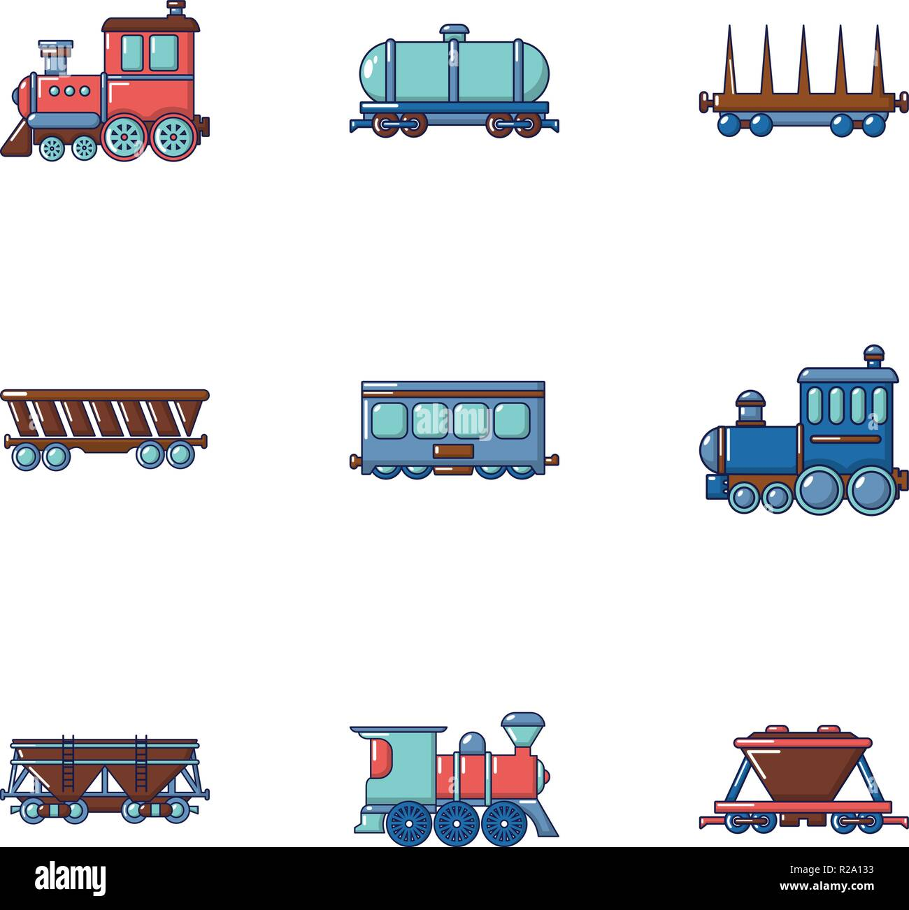 Electric train icons set, flat style Stock Vector