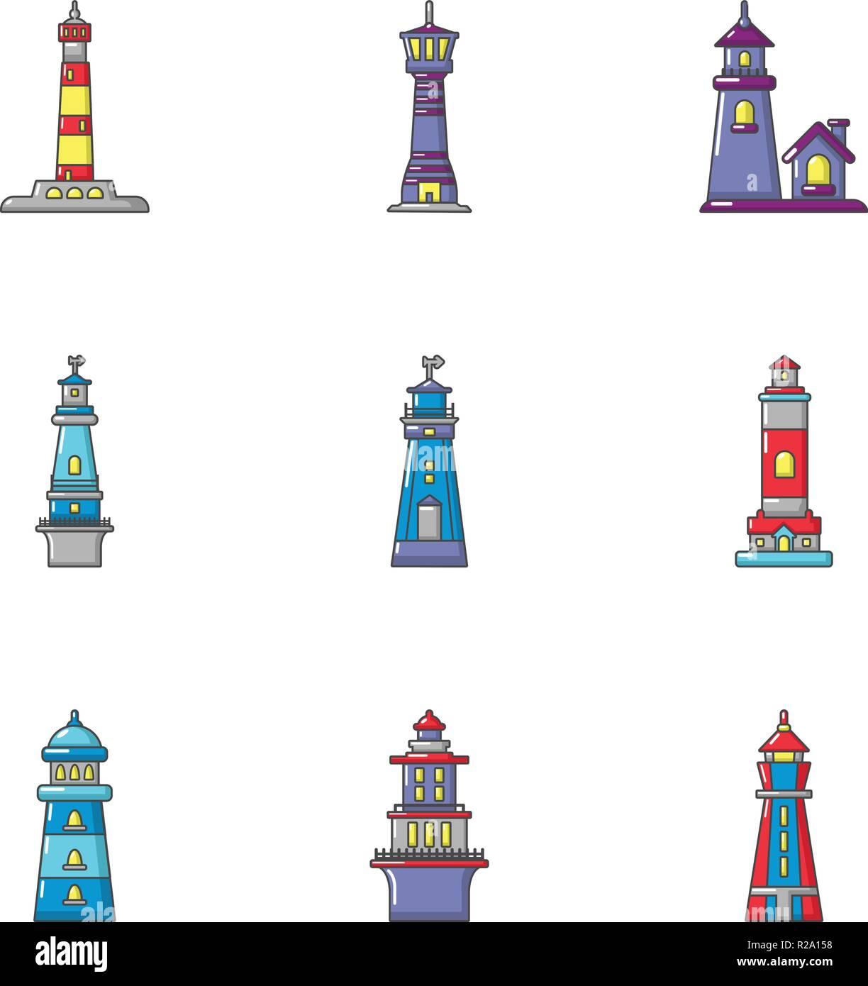 Navigation mark icons set, flat style - Stock Image