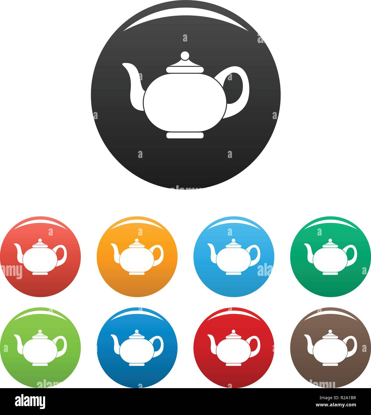 Kitchen teapot icon simple illustration of kitchen teapot vector icons set color isolated on white