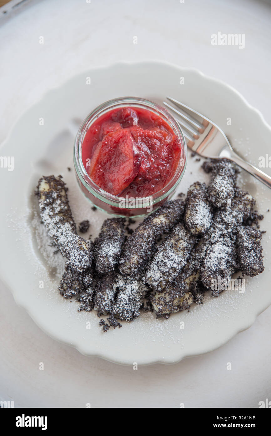 dumpling with poppy seed and sugar - Stock Image