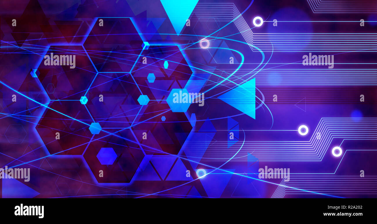 Technology Business Background internet, Computer future linien creative circuit - Stock Image