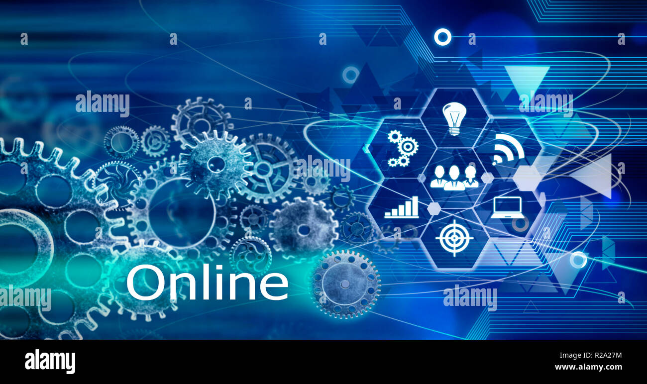 Online,Technology Business Background, Computer future linien creative circuit - Stock Image