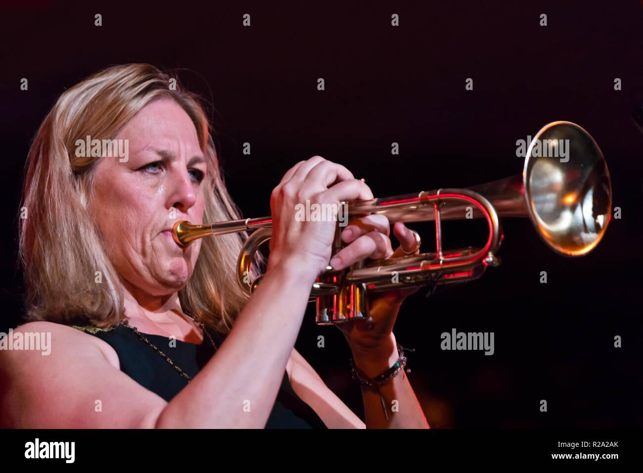 INGRID & CHRISTINE JENSEN INFINITUDE perform at the 61st Monterey Jazz Festival - MONTEREY, CALIFORNIA - Stock Image