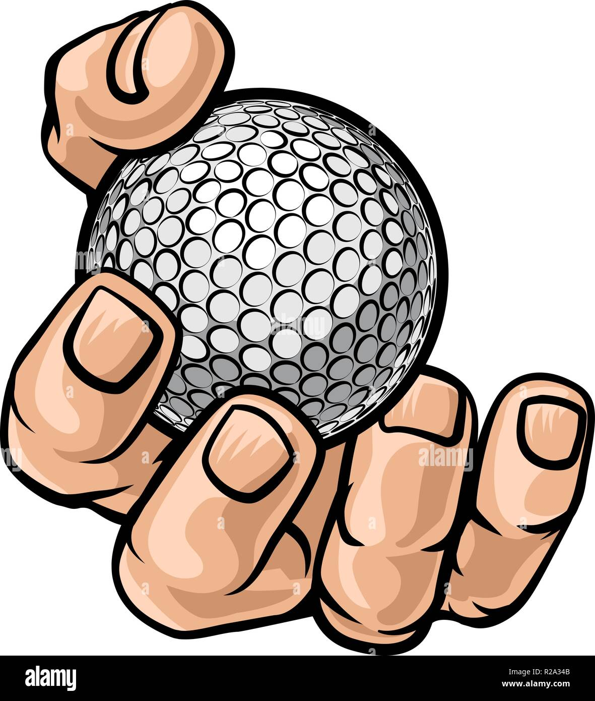 Hand Holding Golf Ball Stock Vector Art Illustration Vector Image