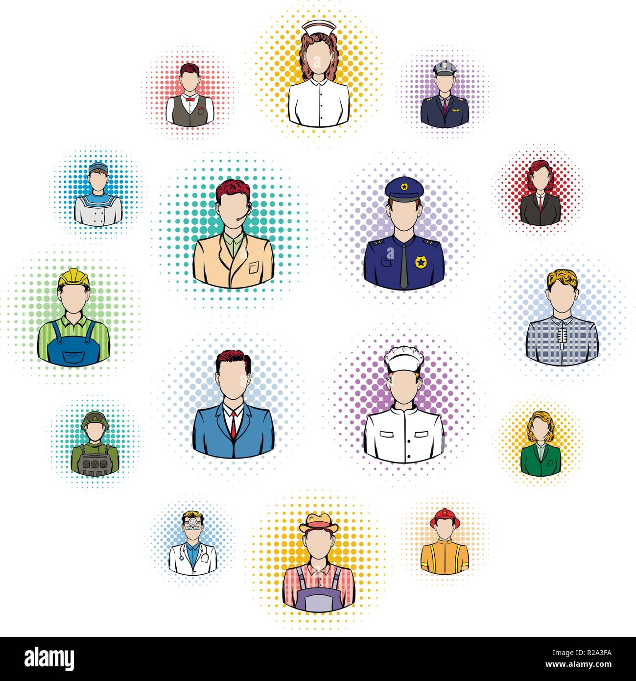 Profession comics icons set isolated on white background - Stock Vector